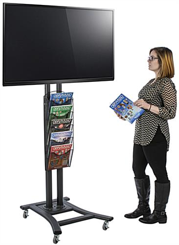 "Black Plasma TV Stand with 5 Mesh Literature Pockets, Holds 32"" to 65"" Screens"