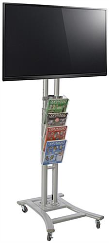 Silver Plasma TV Stand with 4 Clear Literature Pockets, Acrylic Compartments