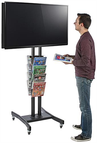 Double Sided TV Stand with 8 Clear Literature Pockets for Promotional Reading Materials