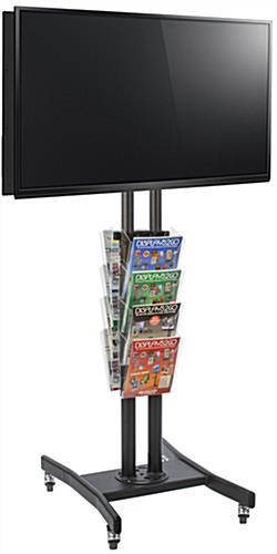Double Sided TV Stand with 8 Clear Literature Pockets, Acrylic