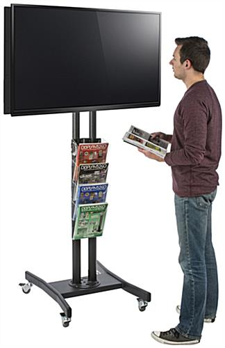 Modern Double Sided TV Stand with 4 Clear Literature Pockets