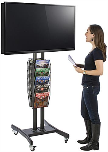 Floor Standing Double Sided TV Stand with 10 Mesh Literature Pockets
