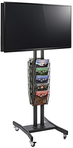 Black Double Sided TV Stand with 10 Mesh Literature Pockets