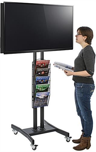 Double Sided TV Stand with 5 Mesh Literature Pockets for High Traffic Areas