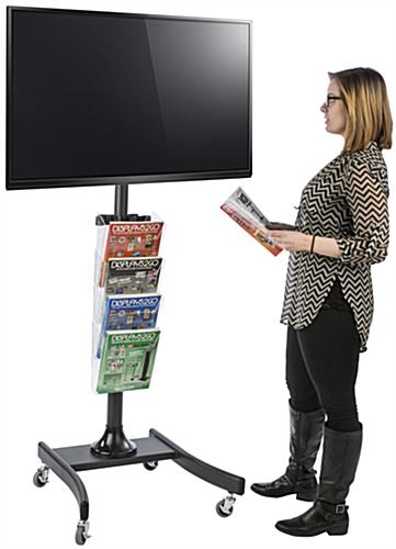Height Adjustable LCD TV Stand with 4 Acrylic Literature Pockets