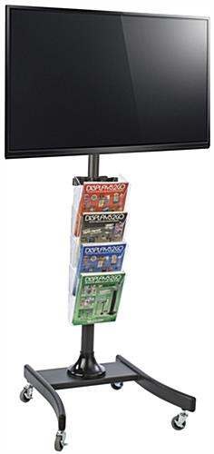 Black LCD TV Stand with 4 Acrylic Literature Pockets