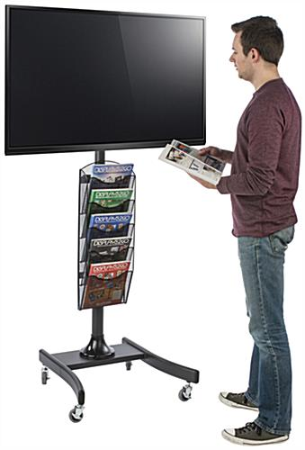 LCD TV Stand with 5 Mesh Literature Compartments for Catalogs or Leaflets