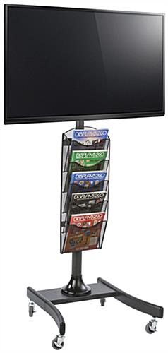 Black LCD TV Stand with 5 Mesh Literature Compartments