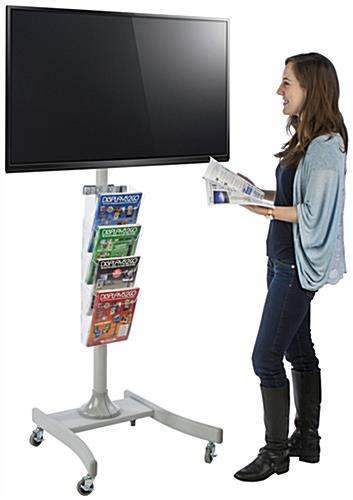LED TV Stand with 4 Acrylic Literature Pockets, Hardware Included