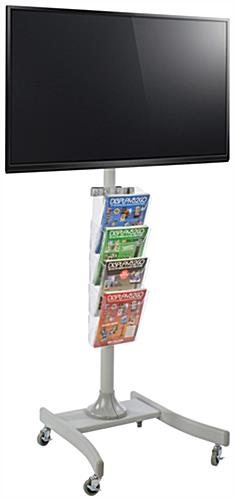 Silver LED TV Stand with 4 Acrylic Literature Pockets