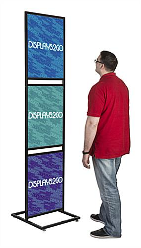 "Triple Tier 22"" x 28"" Graphic Stand For Indoor Floor Displays"