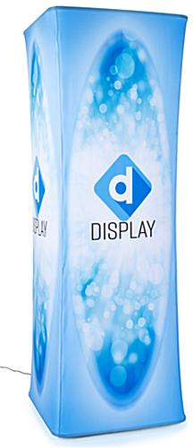 4 Custom printed fabric graphic panels on backlit inflatable tower