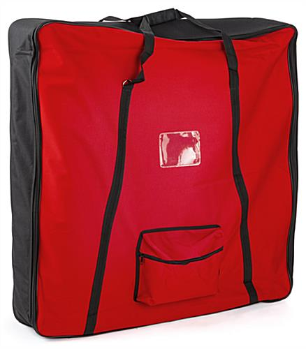 Flat pack backlit inflatable tower with red nylon travel bag