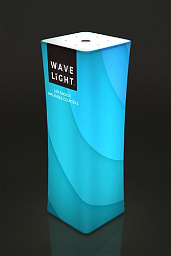 WaveLight® Air backlit inflatable tower with custom SEG fabric graphic print