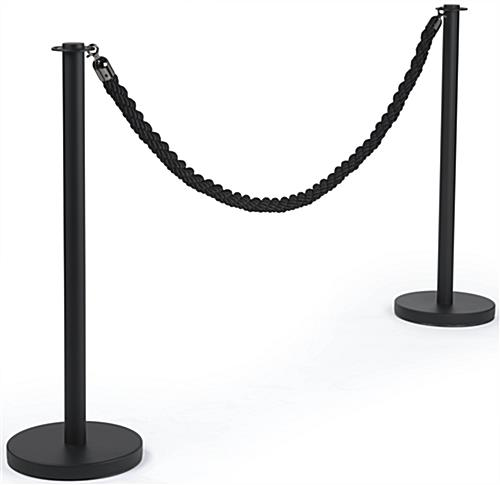 Queue Pole with Black Twisted Rope for Events