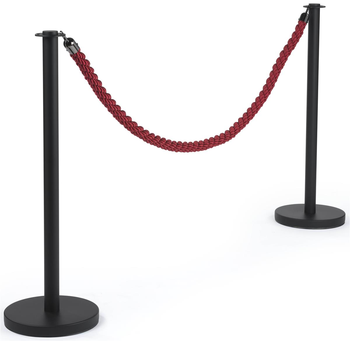 Red Rope Barrier Twisted Nylon With Black End Hooks