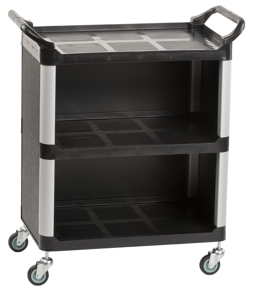 Three Shelf Utility Cart Enclosed Sides With Swivel Wheels