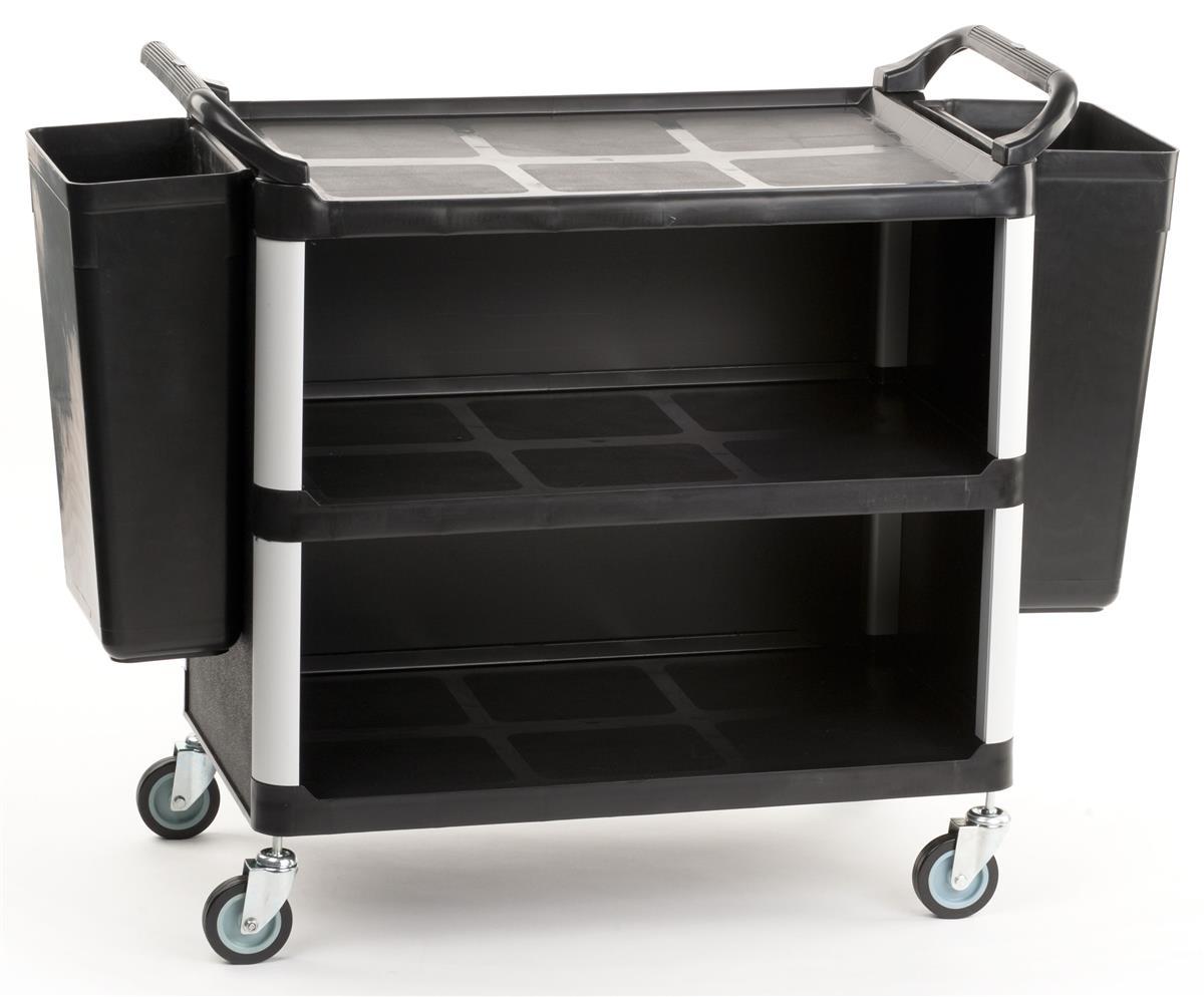 "Displays2go 40""w Enclosed Bus Cart with 2 Side Trash Bins..."