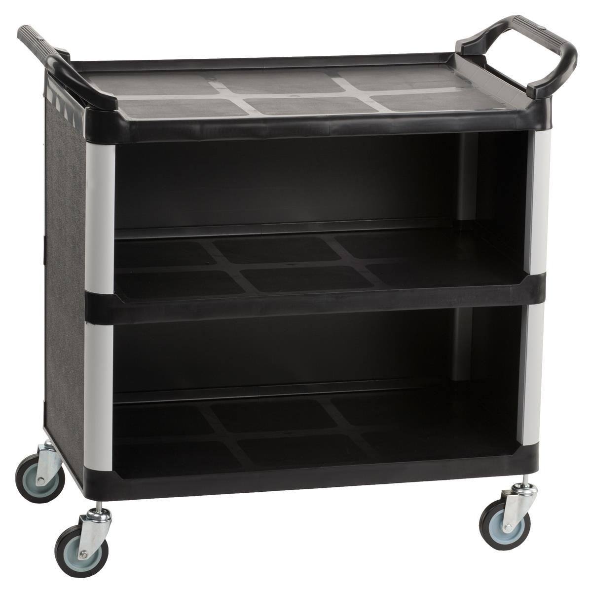 Three Shelf Utility Cart Swivel Casters Amp Enclosed Sides
