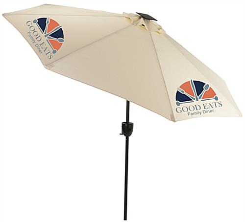 Beige Commercial Patio Umbrella with Solar Powered Bluetooth