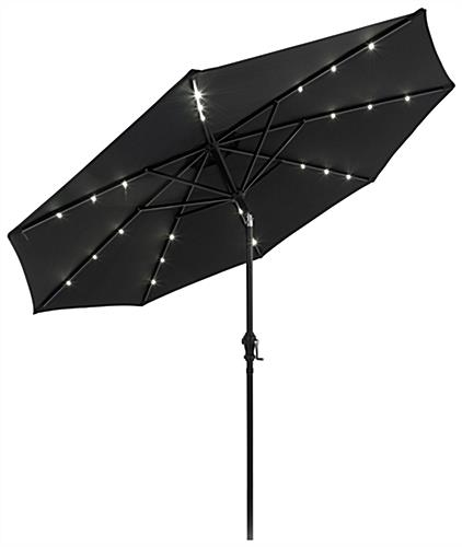 Black Custom  Restaurant Umbrella with Solar LED Lights
