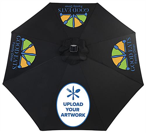 Black Custom  Restaurant Umbrella with Personalized Printed Graphics