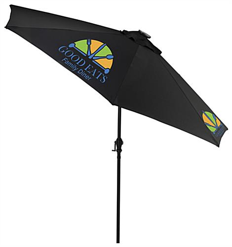 Black Custom Restaurant Umbrella with LED Lights Built In