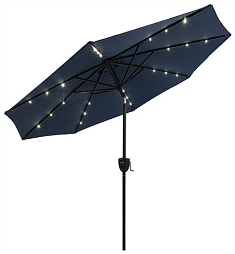 Navy Blue Business Umbrella with Built In Solar LED Lights
