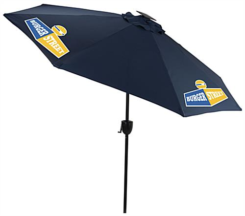 Navy Blue Business Umbrella with Custom Graphics