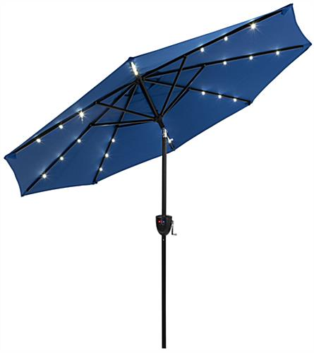 Solar Patio Umbrella with Bluetooth Speaker and Pre Installed Lights