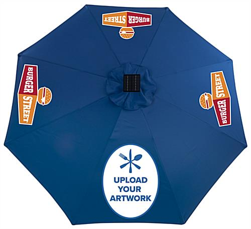 Royal Blue Solar Patio Umbrella with Bluetooth Speaker and Custom Graphic Options