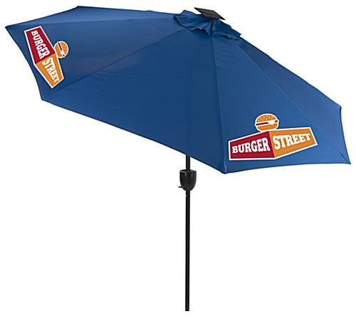 Royal Blue Solar Patio Umbrella with Bluetooth Speaker and LED Lights