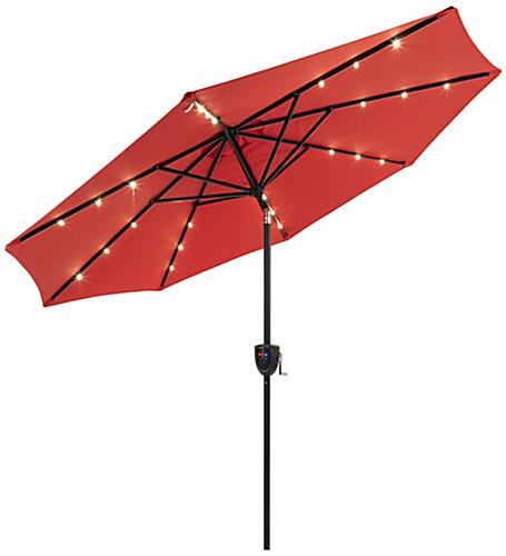 Red Custom Market Umbrella with Pre Installed LED Powered Lights