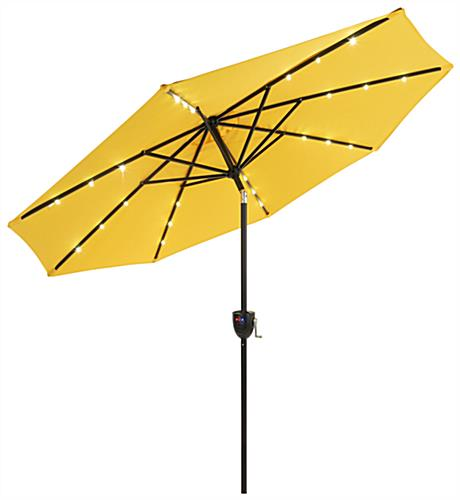 Yellow Custom Patio Umbrella with Solar Powered Lights