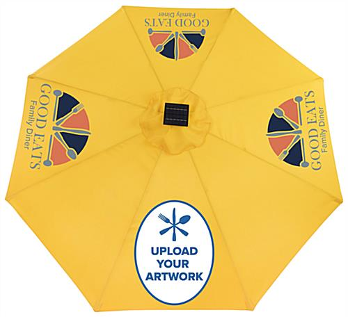 Custom Patio Umbrella with Business Graphics Printed on Canopy