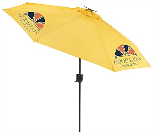 Yellow Custom Patio Umbrella with Company Graphics