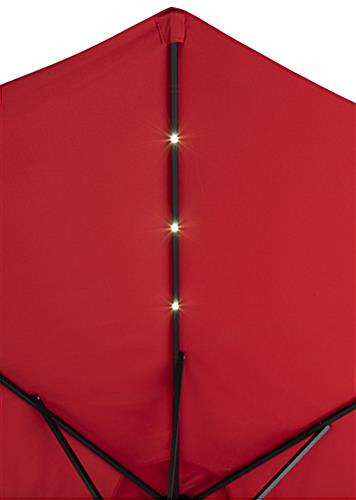 Red Patio Market Umbrella with LED Lights that Come Pre Installed