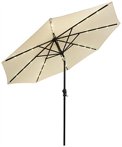 Beige Outdoor Patio Umbrella with Implanted Solar LED Lights