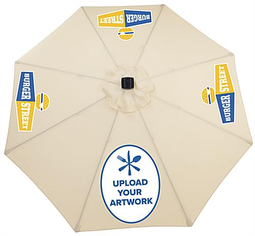 Outdoor Patio Umbrella with Beige Canvas Canopy and Custom Graphics