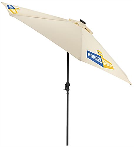 Beige Outdoor Patio Umbrella with Company Logo Printed on Canopy