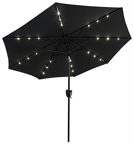 Black Cafe Umbrella with LED Lights Powered by Solar Energy
