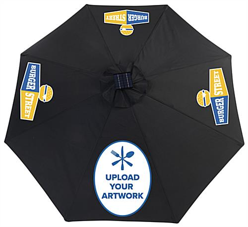 Custom Black Cafe Umbrella with LED Lights