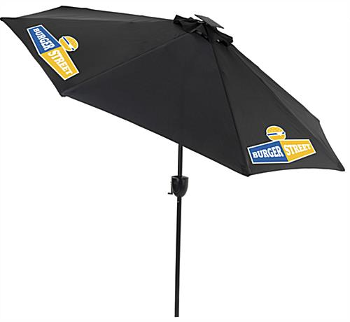 Black Cafe Umbrella with LED Lights and Custom Graphics