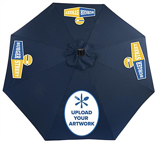 Navy Outdoor Market Umbrella with Custom Printing on Canopy