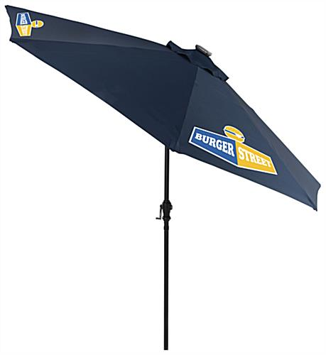Navy Blue Outdoor Market Umbrella with Custom Logos
