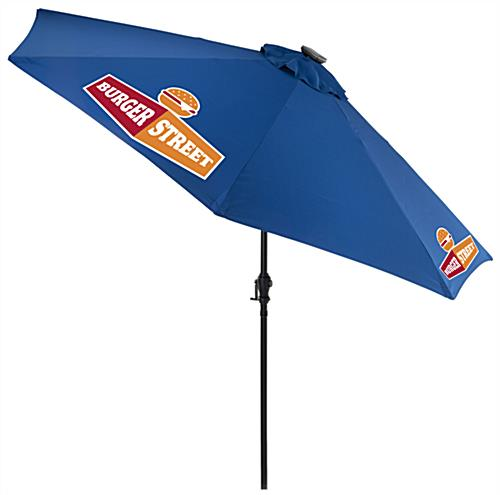 Royal Blue Customized Umbrella with Company Logo on Canopy