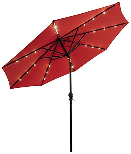 Red LED Patio Market Umbrella Powered by Solar Energy