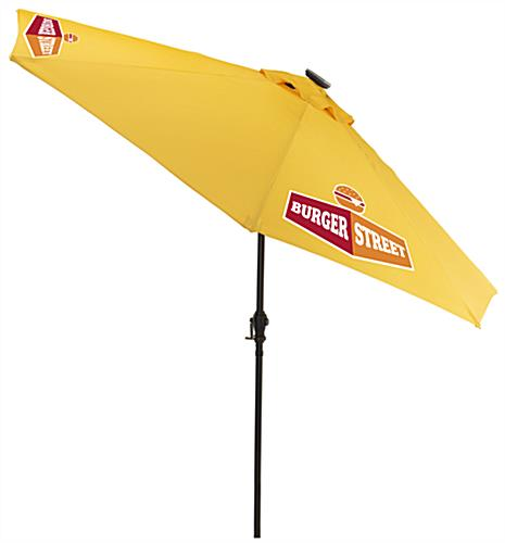 Yellow LED Restaurant Umbrella with Custom Printing