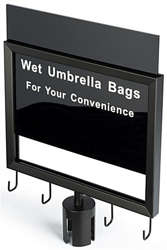 Wet umbrella black stanchion sign with pre-printed slide in messaging