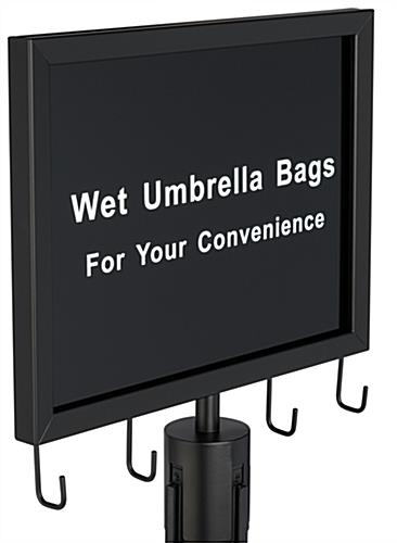 Wet umbrella black stanchion sign with welded hooks